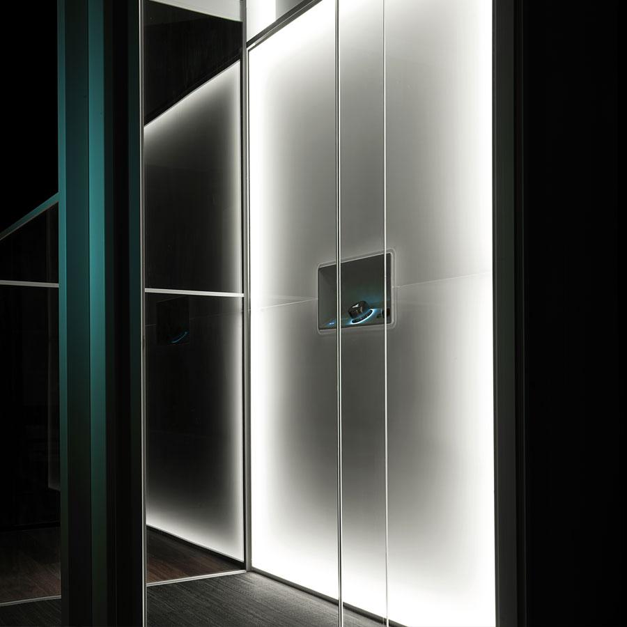 Beautiful lift interior with lighting